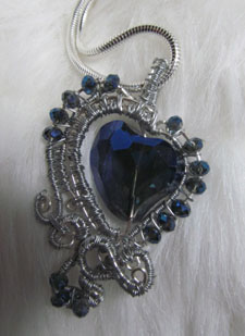 silver and blue heart